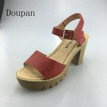 2017 High Heel New Women Summer Sandals Platform Sandals For Women Gold Buckle Thick Heels Sweet Shoes