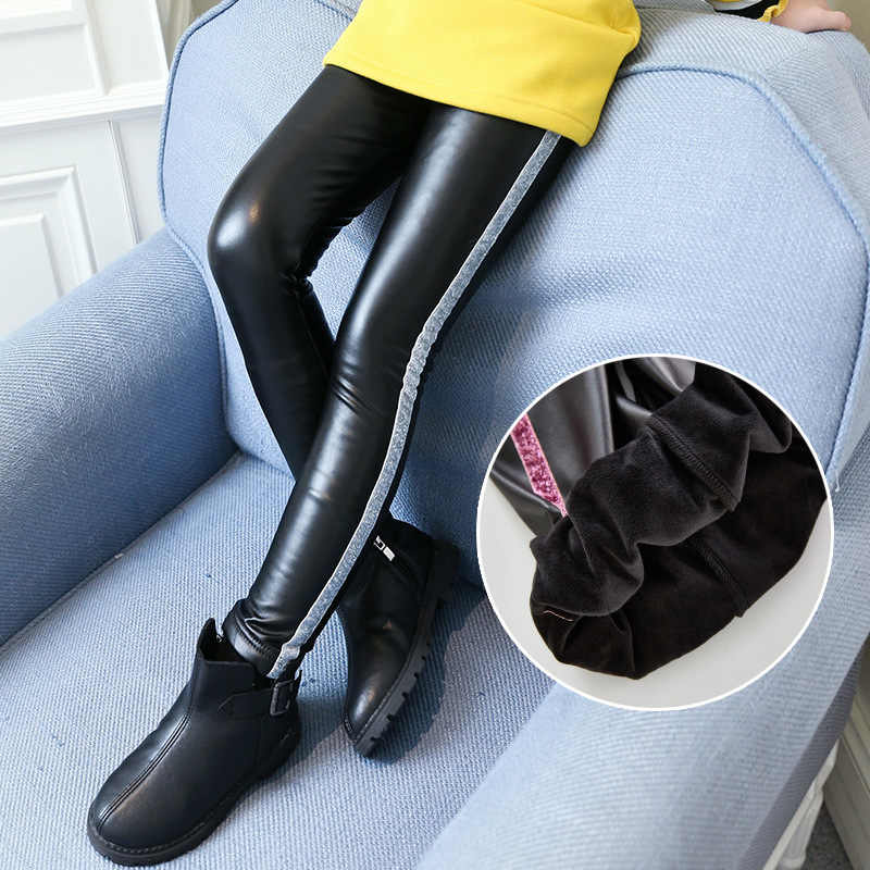 66add4d271f77 Kids Girls Leather Pants Winter Fleece Trousers 2019 Children Girls Leggings  for Winter Fleece Lined Pants
