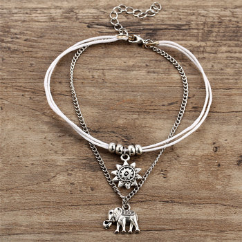 Vintage Multiple Layers Anklets For Women Retro Elephant Sun Pendant Foot Jewelry Barefoot Sandals Ankle Bracelet on the Leg New 1