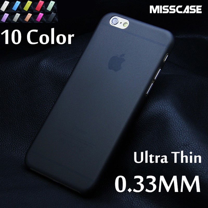 MISSCASE Transparent Ultra thin 0.3MM Phone Back Case For iPhone 6 6s 7 plus 4 4S 5 5S SE 5C PC Hard Cases Protective Cover Capa