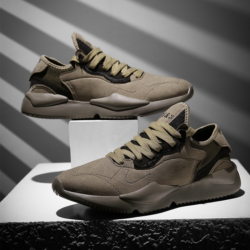 Stylish Color Scheme Men Sneakers Breathalbe Leather Running Shoes For Men Comfortable Khaki Traveling Walking Sport Shoes