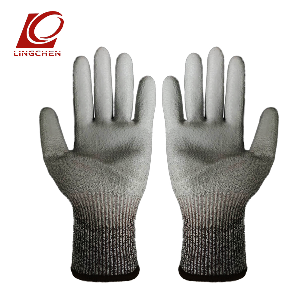 Rubber hppe anti-cutting working gloves anti-oil and alkali-resistant PU coating durable