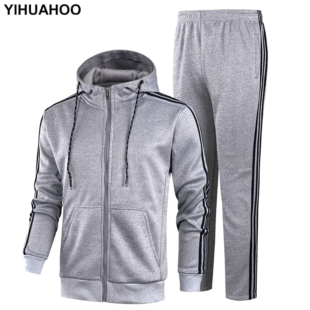 YIHUAHOO Tracksuit Men Winter Autumn Clothing Set 2PCS Jacket And Pants Two-Piece Sweatpants Sportswear Track Suit KSV-TZ060