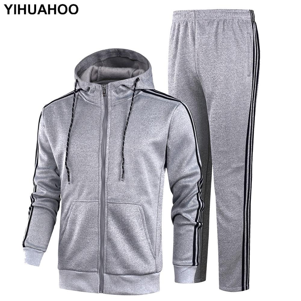 YIHUAHOO Tracksuit Men Winter Autumn Clothing Set 2PCS Jacket And Pants Two-Piece Sweatpants Sportswear Track Suit KSV-TZ060