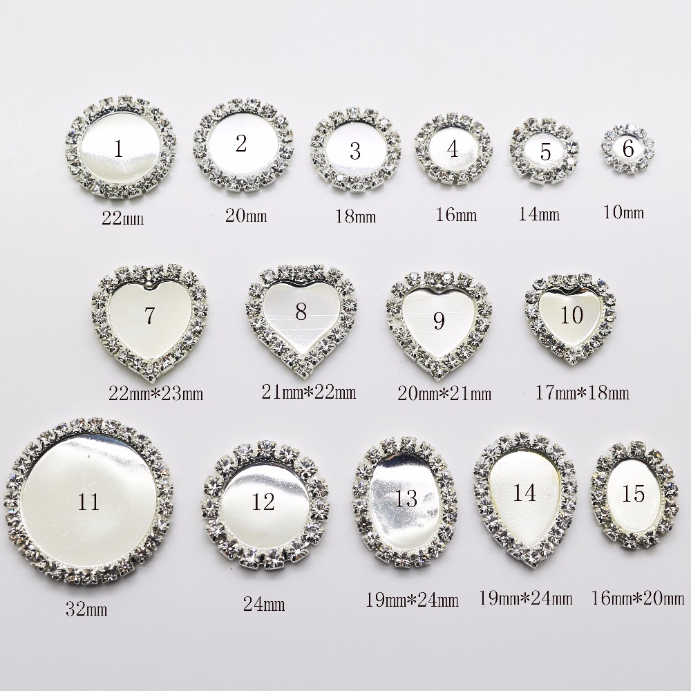 Factory Direct 10PCS/Set Full Size Plating Silver Flat Back Rhinestone Button Crystal Base Accessories