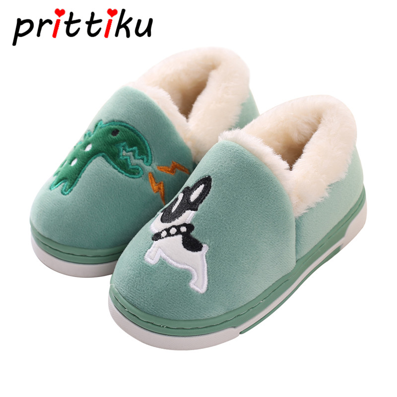 Cartoon Animal Dinosaur Home Shoes Kid Fur Lined Indoor House Winter Warm Slipper Booties for Baby Toddler Little Boy Girl Child lovely animal unicom little twin stars gemini unicorn cartoon home furnishing slipper indoor mute ma am slipper kawai toy gift