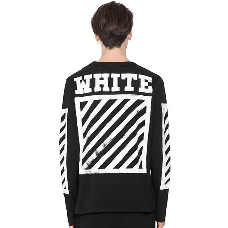 67d8df705d18c8 Off White Long Sleeve T shirt C o Virgil Abloh Men Women Cotton T-shirt Hip  Hop Striped Tee Kanye Justin Bieber T shirts