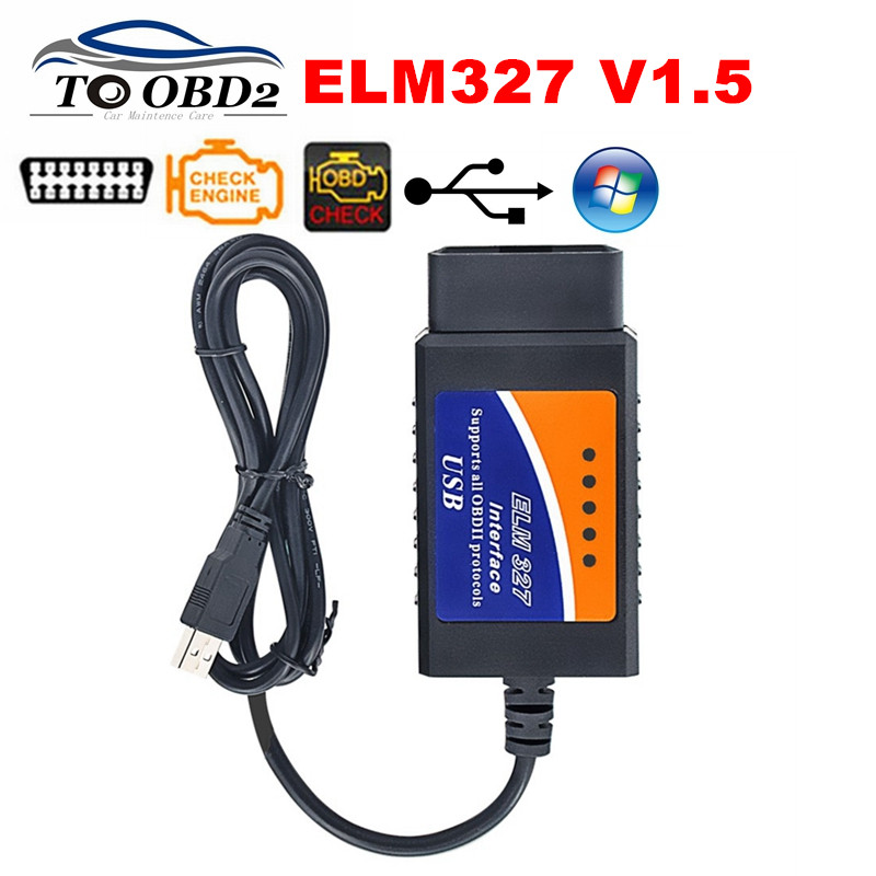 Auto Car Diagnostic ELM327 USB Plastic Code Reader V1.5 Supports Multi-Brand Cars ELM 327 1.5 Works Via Computer Auto CAN-BUS