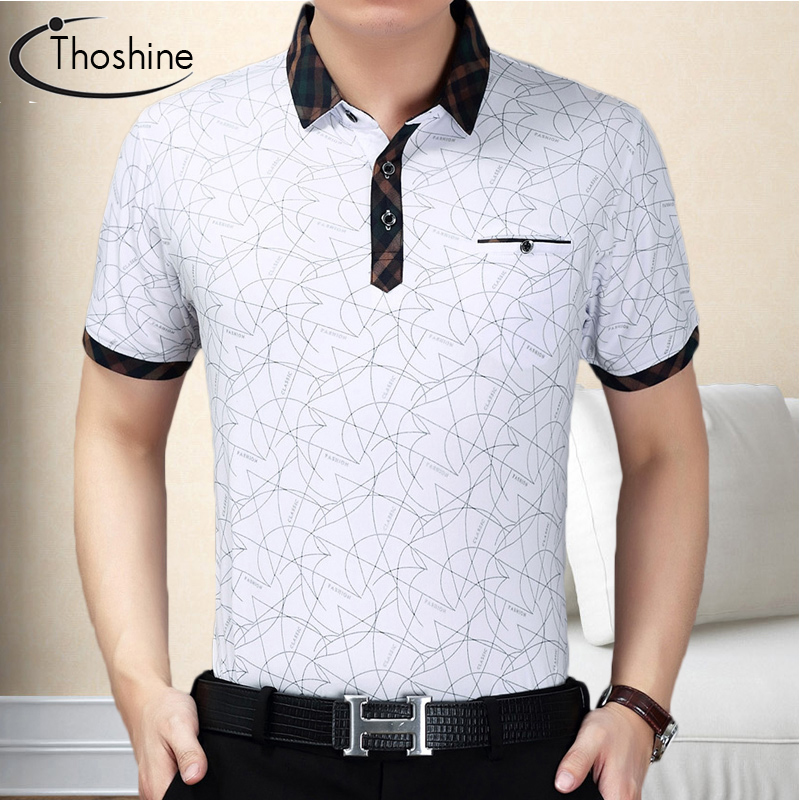Thoshine Brand Summer Men Solid Polo Shirt Male England Style Polo Shirts Short Sleeve Camisa Turn-Down Collar Tops Plus Size