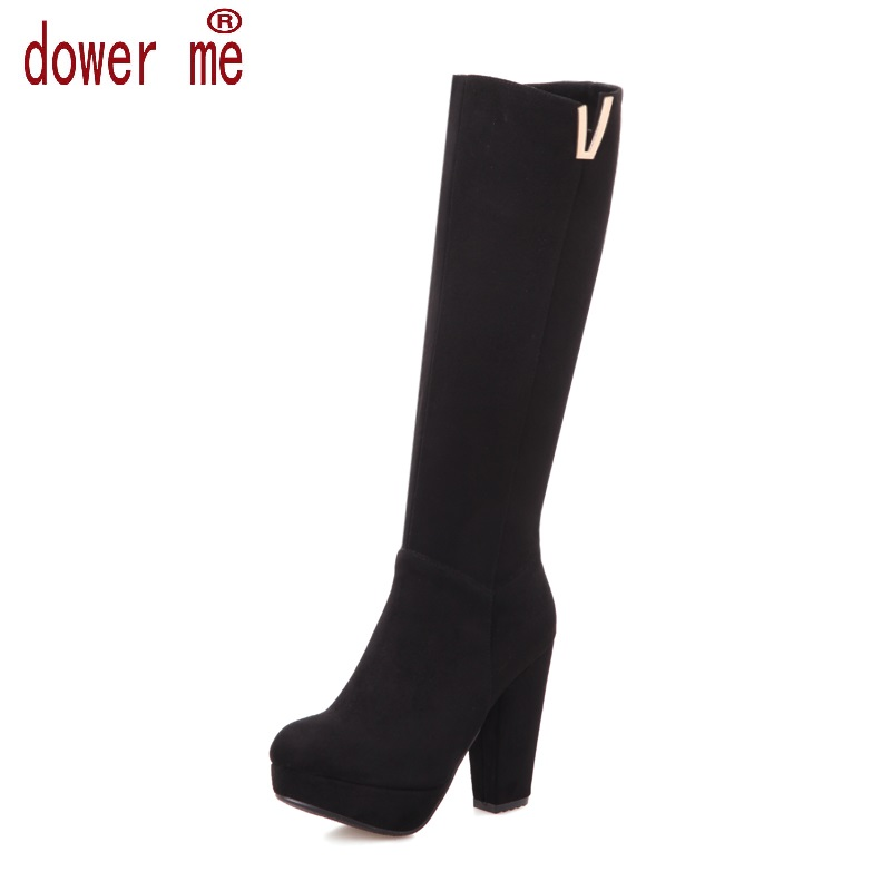 New Women Suede Sexy Fashion Over the Knee Boots Sexy Thin High Heel Boots Platform Woman Shoes Black Blue size 34-43 new 2014 flock suede high heel women boots brand over knee high heel boots for women fashion designer women shoes