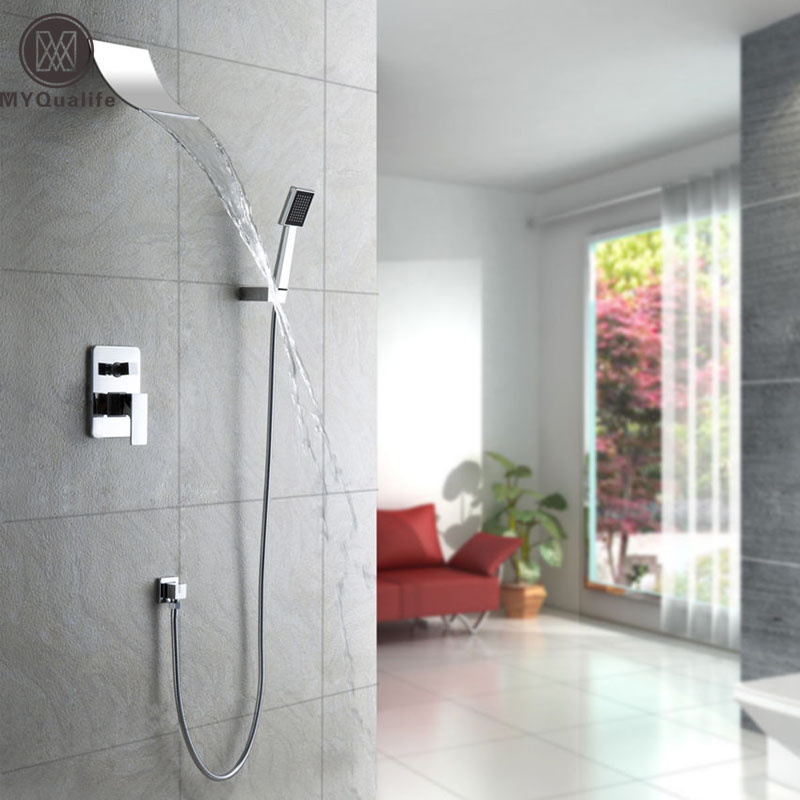 Mordern Waterfall Shower Faucet Set with Square ABS Hand Held Shower Chrome Finish Wall Mount Shower Mixer Taps wall mount thermostatic shower faucet mixers chrome dual handle bathroom hand held bath shower taps