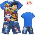 Nova Moda Dos Desenhos Animados Filhote de Cachorro Patrol Shirt + Calça Jeans Crianças Meninos agasalho Impresso T Camisa Crianças Denim Calças Menino calças de Brim Curtas KD254