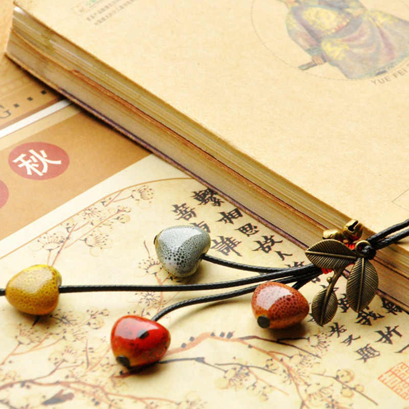 Women Ceramic Beads Heart Pendants Necklaces Leaf Statement Charm Bronze Bell Sweater Chain Weave Rope Choker Fashion Jewelry