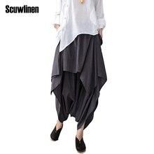 SCUWLINEN 2017 Women Pants Cotton Linen Ruffled Harem Pants Women Pantalon Femme Trouser Women Camouflage Casual Pants WomenS66