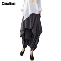 2015 Casual Loose Pants Linen Ruffled Harem Pants Women Pants