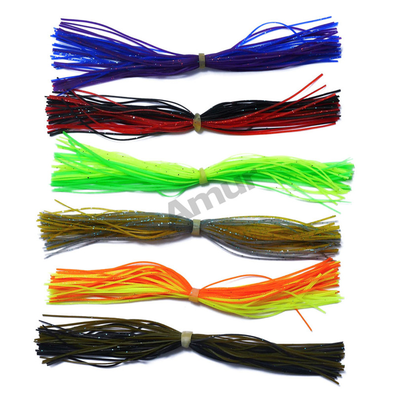 6 bundles/lot Silicone Fishing Line Skirts for Spinnerbait Buzzbait Rubber Jig Fishing Accessories Assorted Color Pesca Tools