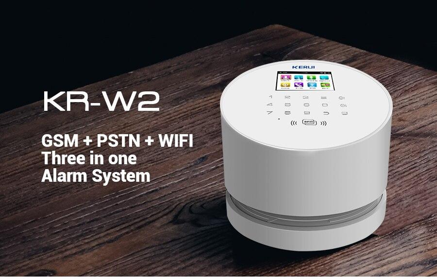 Original KERUI W2 WIFI GSM PSTN Security Alarm System Smart Home RFID Disalarm Low battery Indication Burglar Alarm System