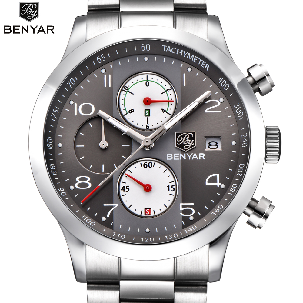 2018 New Watches Men TOP Luxury Brand BENYAR Chronograph Sports Watches Waterproof Stainless steel Quartz Man Watch Mens Relogio bix h2400 advanced full function nursing training manikin with blood pressure measure w194