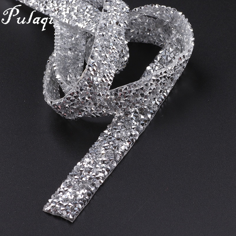 Pulaqi 1 Yard  15mm Clear Crystal Mesh Hot Fix Rhinestones Chain Trim Resin  Strass Banding Crystal Hotfix Applique for Clothes H 23cfabf3bc80