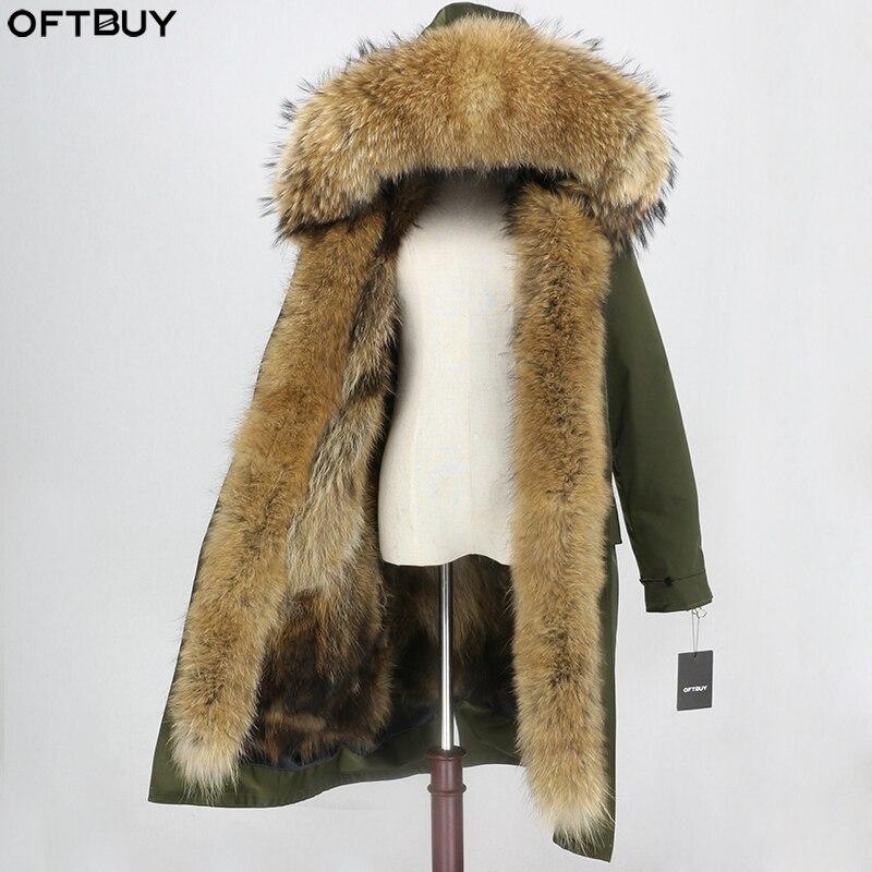 OFTBUY Waterproof Fabric Outerwear X-long Parka Winter Jacket Women Real Fox Fur Coat Natural Raccoon Fur Collar Hood Streetwear