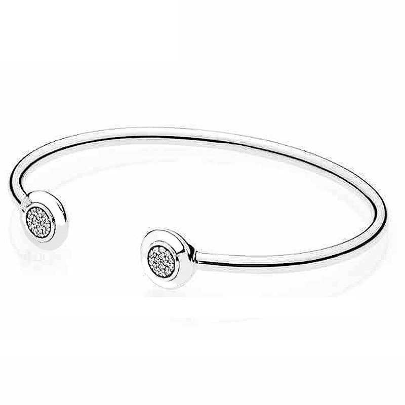Authentic 925 Sterling Silver Bangle Signature With Crystal Open Bracelet Bangle Fit Women Bead Charm DIY Jewelry slovecabin 2017 new unique moment open bangle bracelet for women 925 sterling silver pave stone open bangle for bead diy jewelry