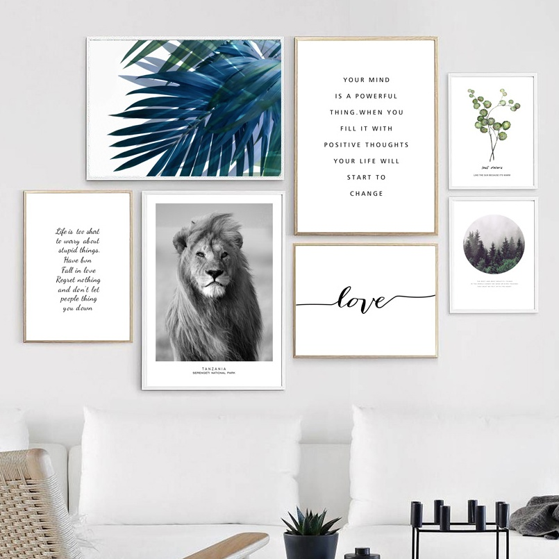 Lion-Green-Leafs-Quotes-Forest-Landscape-Wall-Art-Canvas-Painting-Nordic-Posters-And-Prints-Wall-Pictures