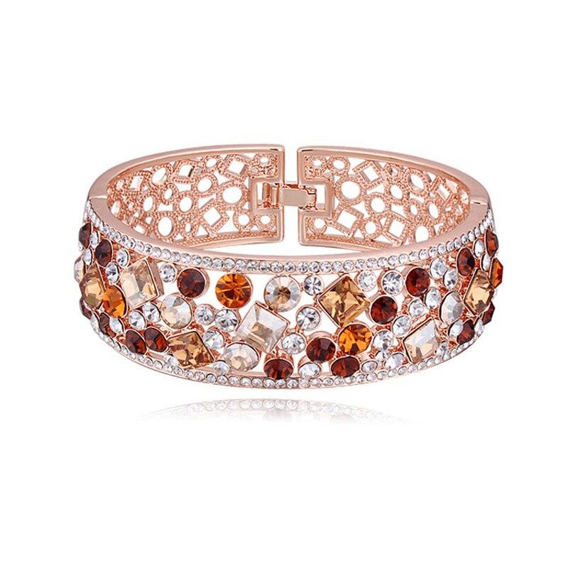 Bracelets en alliage de couleur or Rose avec Bracelet creux coloré pour femme - 2