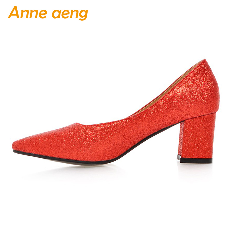 spring women pumps high chunky heel pointed toe shining classic elegant office lady Black Red shoes women big size 44 45 2018 new plus big size 33 44 black red peep toe fashion sexy high heel platform spring autumn lady shoes women pumps d1103