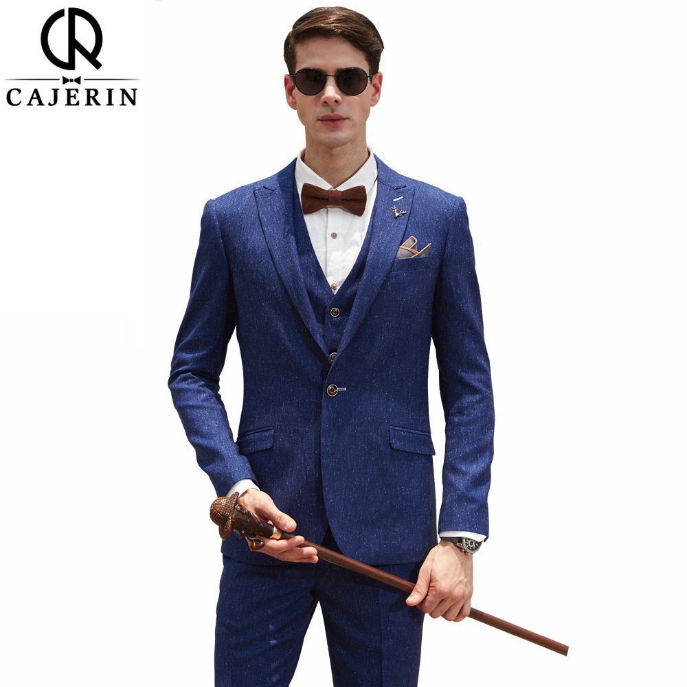 Cajerin Mens Clothing Gentleman England Smart Casual Style Business Men Suit Tailor Snow Spots Blazer Blue Suits