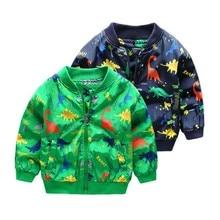 Новое осеннее пальто с рисунком динозавра для маленьких девочек и мальчиков, куртки одежда на молнии с карманами, куртка для мальчиков