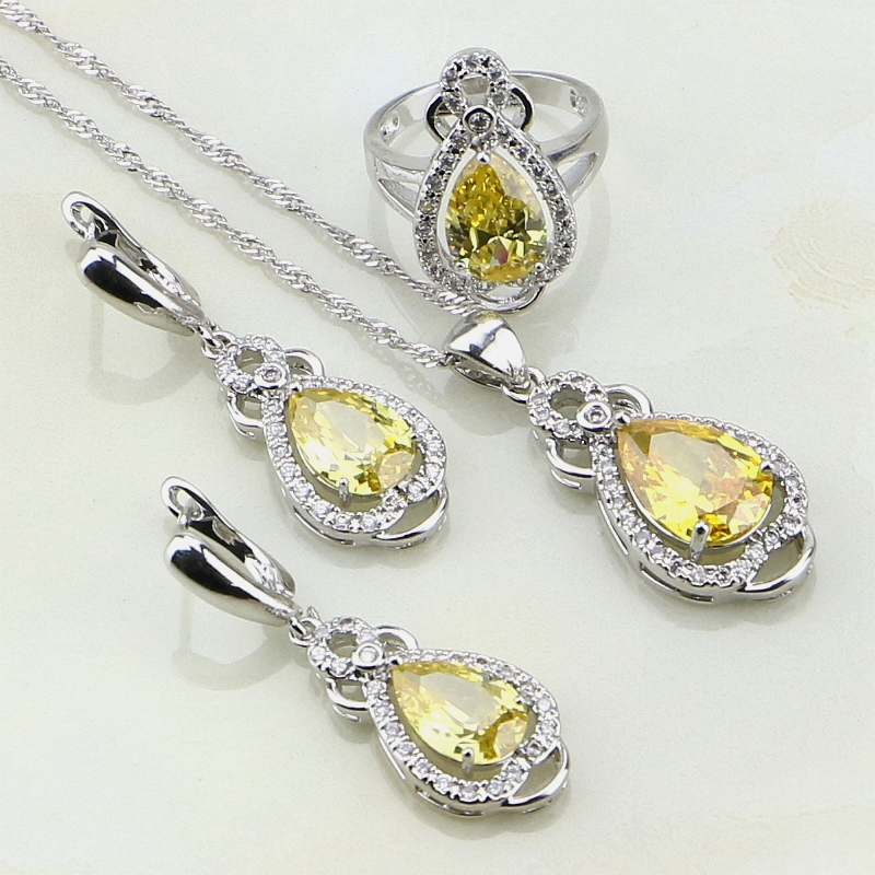 925 Sterling Silver Jewelry Yellow Cubic Zirconia White Stones Jewelry Sets For Women Party Earring/Pendant/Necklace/Ring