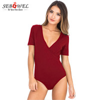 SEBOWEL 2018 Solid Color Plunge Bodysuit Women Daring Deep V Neck Sexy Bodysuit Women Top Jumpsuit