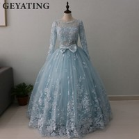 Vestido Quinceanera 2017 Ball Gown Quinceanera Dresses Lace Appliques Vestido 15 Anos Long Sleeves Sweet 16