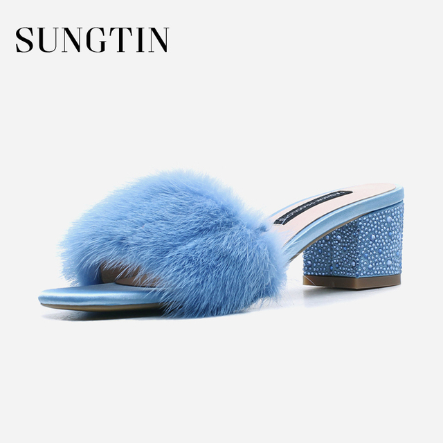 Sungtin Sexy Classic Real Fur Slippers Women Casual Mules Shoes Ladies Fur  Slides 2018 Summer Crystal Mid Heel Fluffy Slippers 74e66680b716