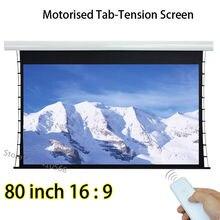 Qualidade de Imagem de 80 polegadas 16:9 Guia Tensionada Elétrica 3D Tela De Projeção De Filme de Material De Fibra De Vidro Branco Para 4 K