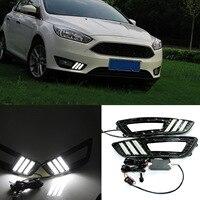 1pair DRL LED Daytime Running Light Fog Lamp For Ford Focus 2015 6000K Super White DXY88