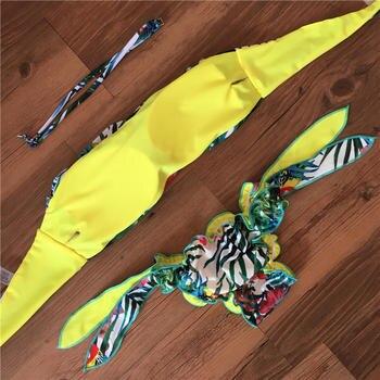 2017 New Plant Print Halter Bathing Suit Strapless Bra Push Up Sexy Bikini Set Women Swimwear Bandeau Swimsuit Beachwear Plavky 3