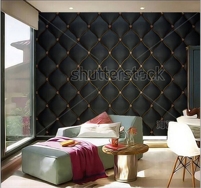 Custom 3D murals,Black Buttoned luxury leather pattern with diamonds and gemstones ,living room sofa TV wall bedroom wall paper the custom 3d murals the new york times center building street black and white living room sofa tv wall bedroom wall paper