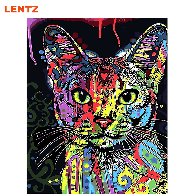 Cat Animals Pop Art Painting Numbers Picture By Number Digital