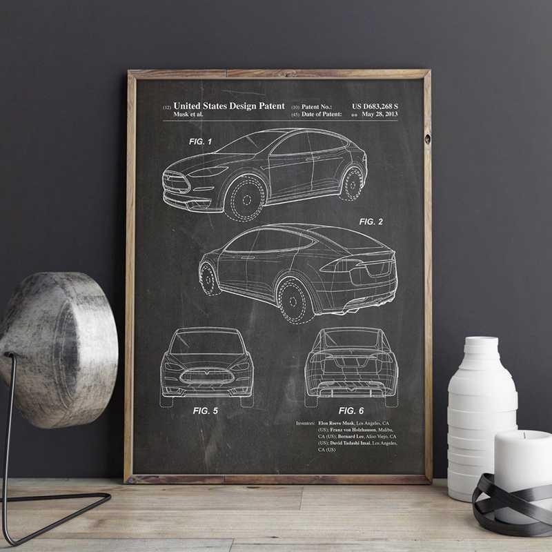 Патент на электромобиль для Tesla модель X художественные принты Авто настенный