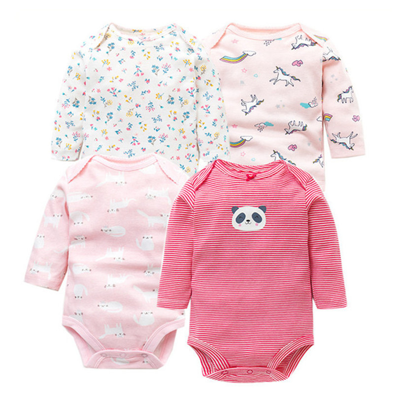 4 PCS/Lot Spring Autumn Baby   Rompers   100% Cotton Newborn Baby Clothes For 0-2Y Girls Boys Long Sleeve Jumpsuit Baby Clothing Set