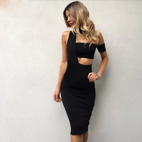 2018 New Drop Shipping Elegant Choker Top Design Inspired Tube Midi Length HL Party Celebrity Bandage Dress HL561