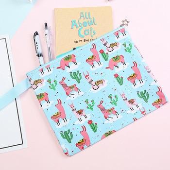 Alpaca Cactus Cartoon Printing File Bag Document Bag File Folder Stationery Filing Production School Office Supply 1