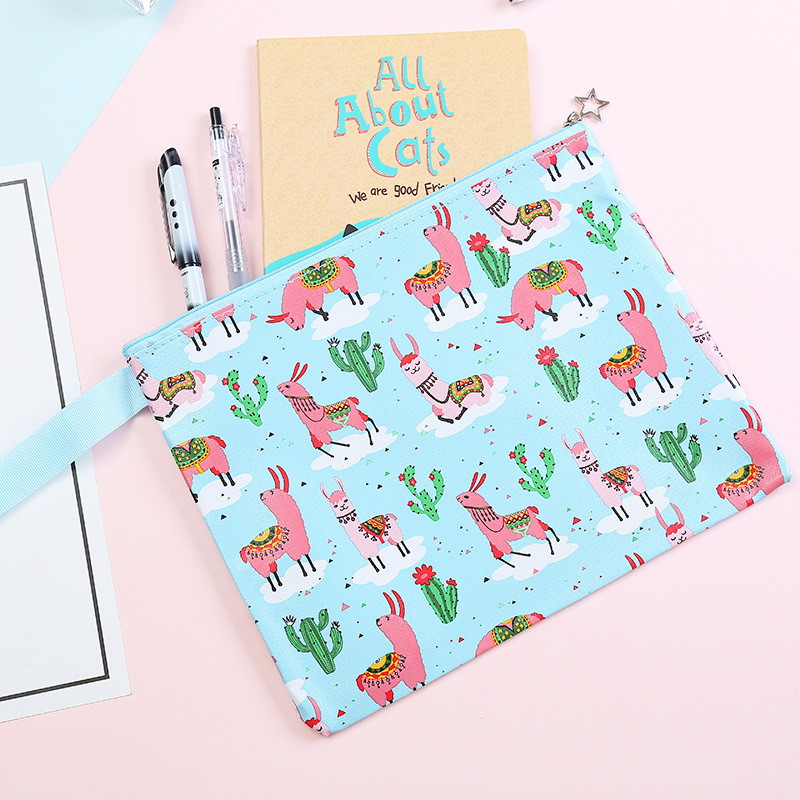 Alpaca Cactus Cartoon Printing File Bag Document Bag File Folder Stationery Filing Production School Office Supply