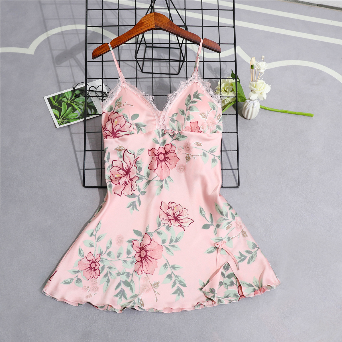 Sexy Womens Silky Sleep Robe Strap Top Sleepwear Sleeveless Nightdress Lady Home Wear   Nightgown   Bath Gown   Sleepshirts   Bathrobe