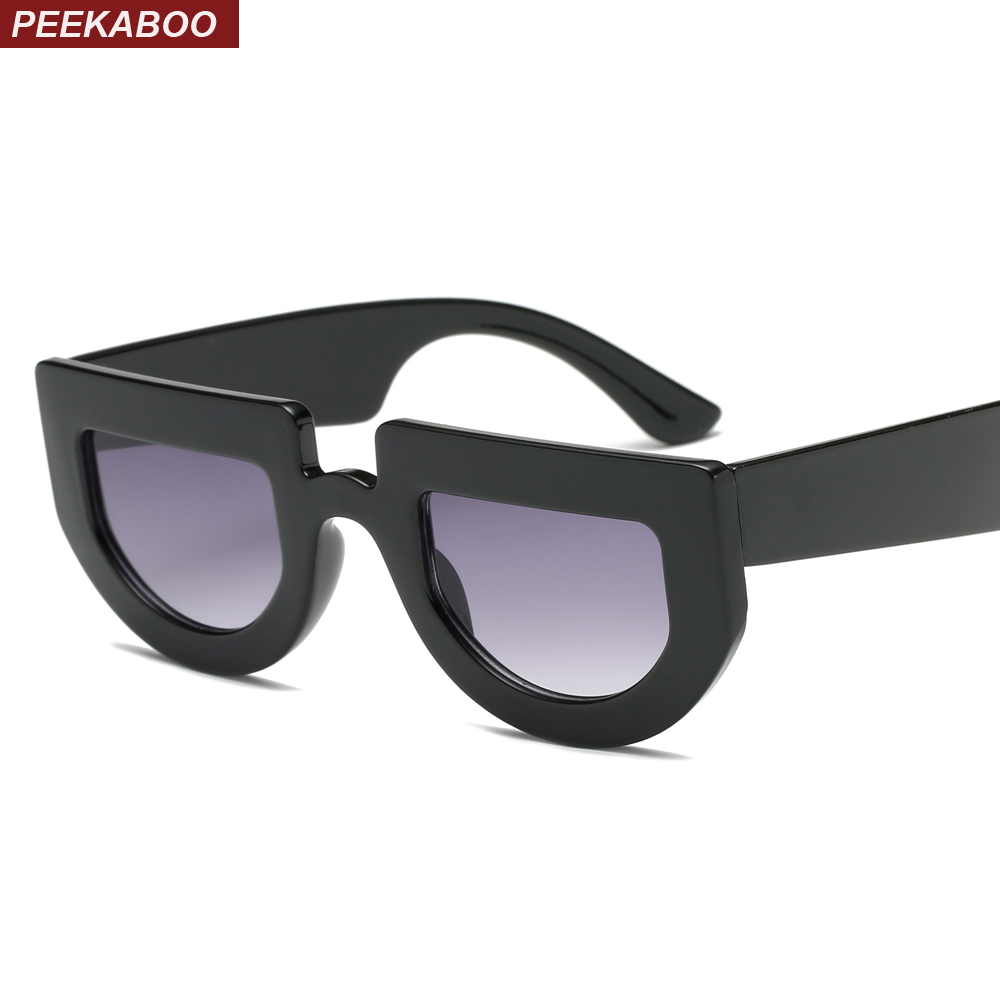 94fd36b93d Peekaboo white half round sunglasses women thick frame 2019 black retro  vintage sun glasses for women men unisex uv400
