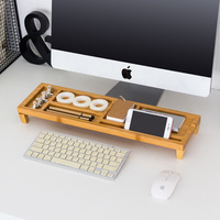 MoeTron Creative Desk Organizer Office Stationery Holder Bamboo Desk Pen Holder Multifunction Box For Office Desk
