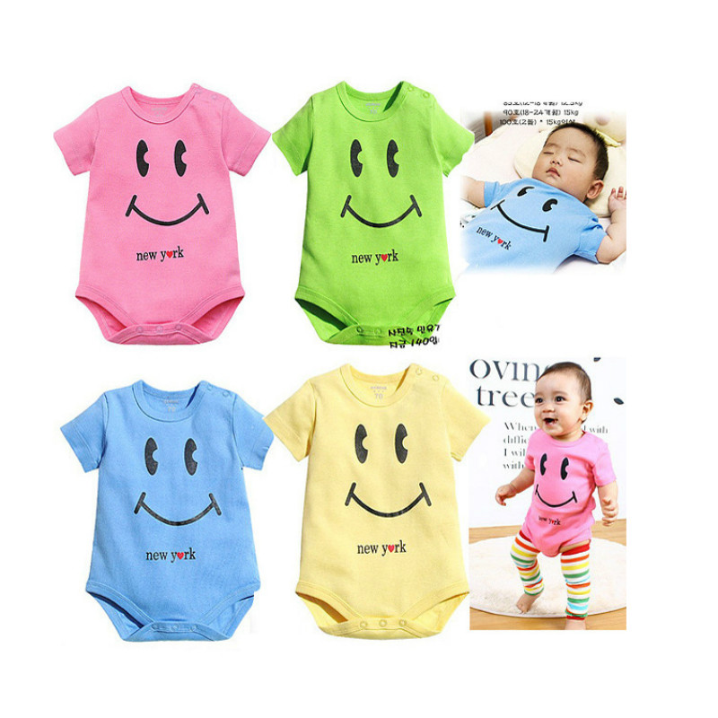 2017 New Summer Baby Rompers Short Sleeve Lovely Smile O Neck Cotton Romper Boys Girls Baby Clothing 0-12M Wholesale Retail baby rompers o neck 100