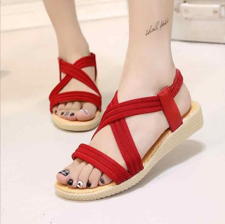 Szsgcn414 לנשים סנדלי קיץ חוף סנדלי צבע אלסטיות נד מוצק שטוח סנדלים רומיים נעלי Chaussure Femme גודל 35-42