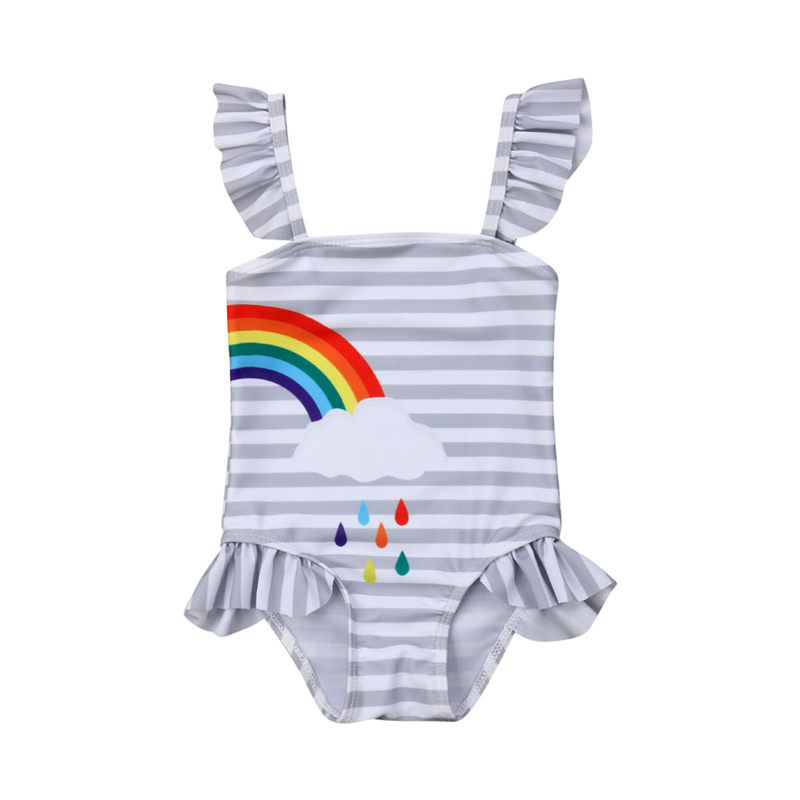 1 5T Baby Girls Rainbow Swimwear Twins Outfit Toddler Kids Swimsuit Summer Children Bathing Suit -1533